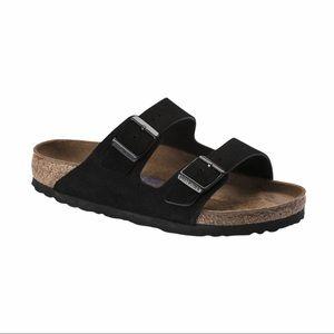 Black Suede Arizona Birkenstock Sandals-Like New
